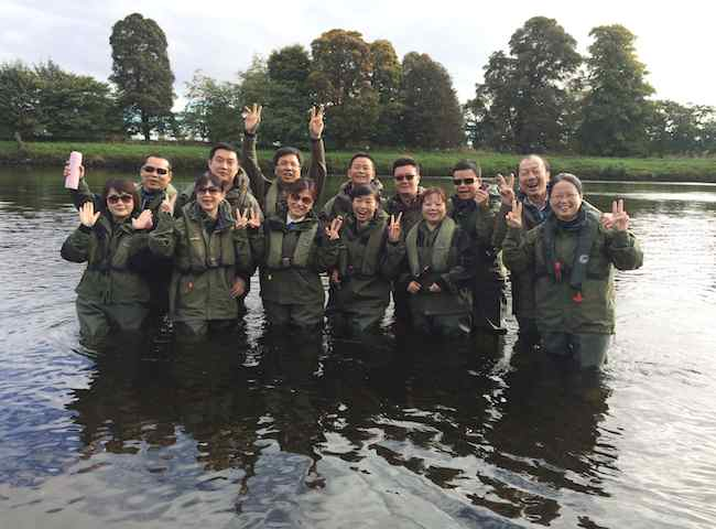 Group Salmon Fishing On The River Tay